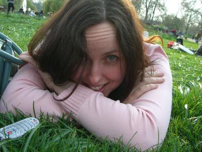 Mel on lawn