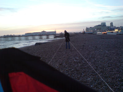 Kate untangling the kite